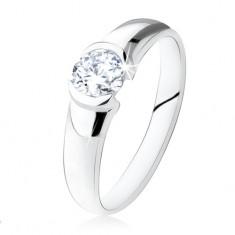 Srebrny pierścionek 925, okrągły przezroczysty kamyczek, lśniąca powierzchnia