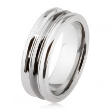 Wolframowy pierścionek o lśniącej powierzchni, dwa nacięcia, czarny i srebrny kolor