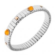 Elastyczna stalowa bransoletka, lśniące ogniwa srebrnego koloru, owale, kuleczki