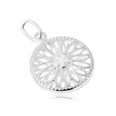 Srebrny wisiorek 925, wycinany kwiatek