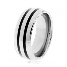 Wolframowy gładki pierścionek, lekko wypukły, lśniąca powierzchnia, dwa czarne paski