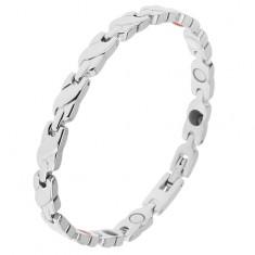 Bransoletka ze stali srebrnego koloru, ogniwa - plecionka, prostokątne łączniki, magnesy
