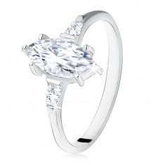 Srebrny pierścionek 925, cyrkonia w kształcie ziarenka, trapezy po bokach