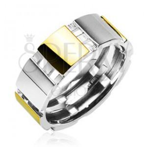 Stalowy pierścionek ze złotymi elementami