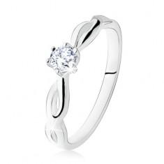 Strieborný prsteň 925, zásnubný, číry kamienok, špirálovité ramená