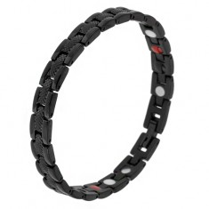 """Czarna magnetyczna bransoletka ze stali, wzór wężowy, ogniwa """"Y"""", kuleczki"""