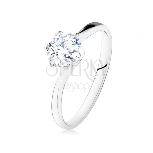Srebrny pierścionek 925 w stylu zaręczynowego, okrągła przezroczysta cyrkonia, wąskie ramiona