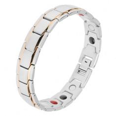 """Stalowa bransoletka srebrnego koloru, ogniwa """"Y"""" z paseczkami w złotym odcieniu, magnesy"""