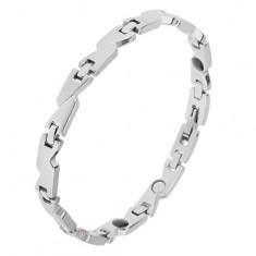 Stalowa bransoletka z magnesami, srebrny kolor, matowe trapezy