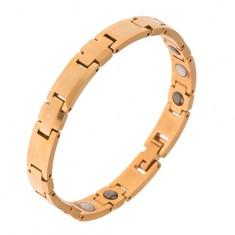 """Wolframowa bransoletka, złoty kolor, części """"+"""", prostokąty, magnesy"""