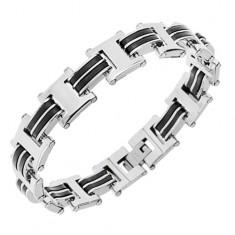 "Stalowa bransoletka srebrnego koloru, ogniwa ""H"", czarne gumowe elementy"