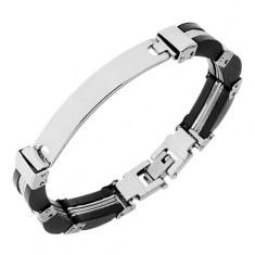 Stalowo-gumowa bransoletka, srebrny i czarny kolor, wypukła płytka