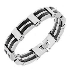 Stalowa bransoletka - wypukłe ogniwa srebrnego koloru, czarne gumowe elementy