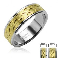 Stalowy pierścionek - złoty pas z nacięciami