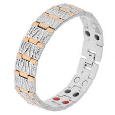 Stalowa bransoletka w srebrnym i złotym kolorze, ozdobne nacięcia, magnesy