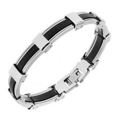 Bransoletka z gumy i stali, czarny i srebrny kolor, klucz grecki
