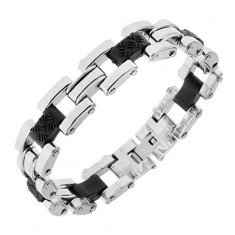 Stalowa bransoletka srebrnego koloru, czarne gumowe łączniki z ozdobami