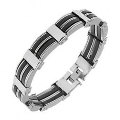 Stalowa bransoletka srebrnego koloru, czarne poziome paseczki z gumy