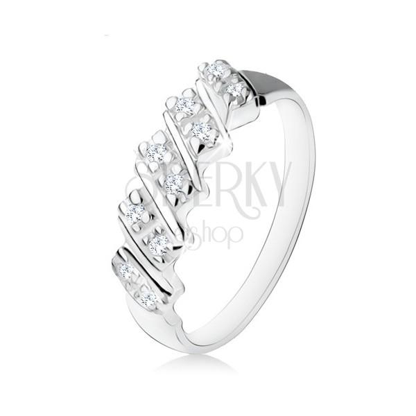 Srebrny pierścionek 925, pięć ukośnych paseczków z przezroczystymi cyrkoniami
