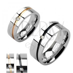 Stalowe obrączki srebrne, złoty pas, czarny pas z cyrkonią