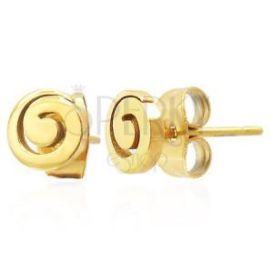 Stalowe kolczyki wkręty - lśniąca spirala złotego koloru