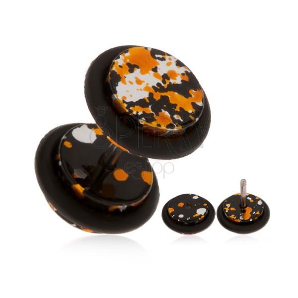 Akrylowy oszukany plug do ucha - plamy w czarnym, pomarańczowym i srebrnym kolorze