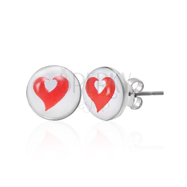 Stalowe kolczyki czerwone i białe serce