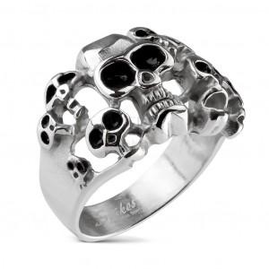 Pierścionek srebrnego koloru ze stali 316L - dziesięć czaszek z czarną emalią