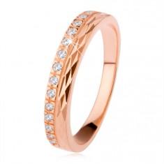Srebrny pierścionek 925 miedzianego koloru, diamentowe nacięcia, cyrkoniowy pas
