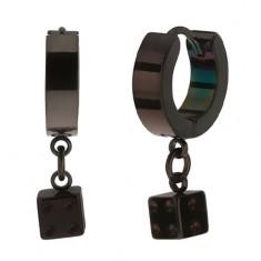 Stalowe kolczyki, czarny kolor, lśniąca powierzchnia, kostka do gry