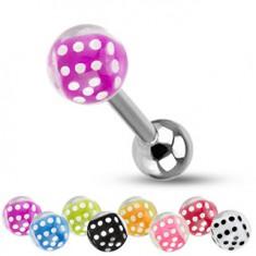 Barbell do języka ze stali, srebrny kolor, kuleczki, kolorowe kostki do gry