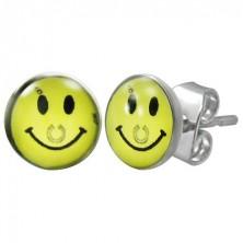 Stalowe kolczyki - żółty uśmiech z podkową, wkręty