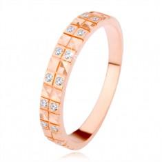 Srebrny pierścionek 925 w miedzianym odcieniu, diamentowy wzór, przezroczyste cyrkonie