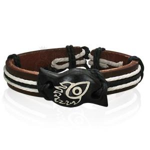 Skórzana bransoletka z symbolem - diabelskie oko w płomieniach