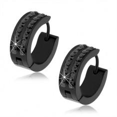 Czarne stalowe kolczyki, dwa pasy czarnych cyrkonii