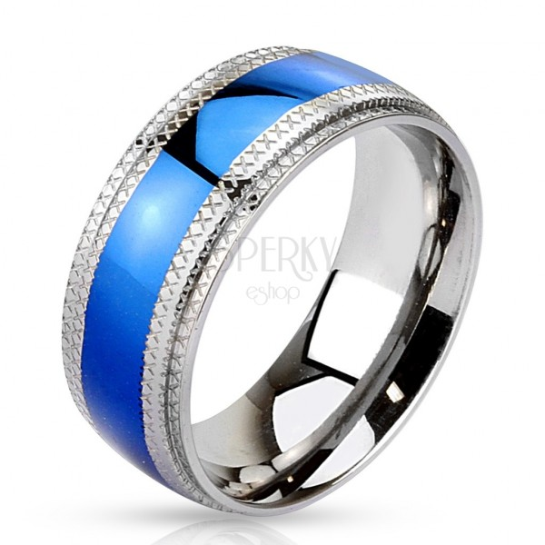 Stalowy pierścionek niebieski pas pośrodku, karbowane krawędzie