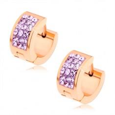 Okrągłe kolczyki ze stali chirurgicznej, miedziany kolor, fioletowe cyrkonie