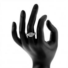 Srebrny pierścionek 925, pofalowane cyrkoniowe pasy, okrągły przezroczysty kamień