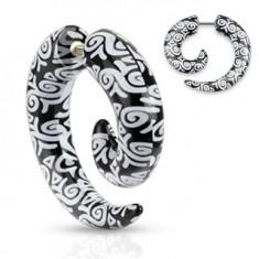 Oszukany kolczyk do ucha z akrylu, czarna spirala, białe ornamenty