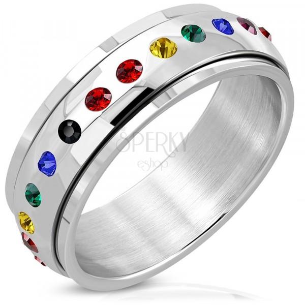 Błyszczący stalowy pierścień - ruchomy środek, cyrkonie w kolorach tęczy