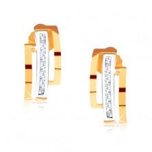 Dwukolorowe kolczyki ze złota 375, półkola, pionowy pas z przezroczystych kamyczków