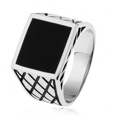 Srebrny pierścionek 925, ramiona z rombami, czarny emaliowany kwadrat