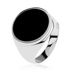 Pierścionek ze srebra 925 z czarnym emaliowanym kołem