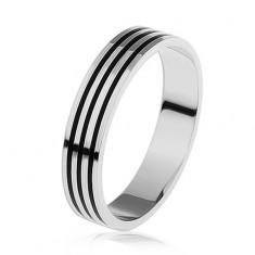 Srebrny pierścionek 925, trzy cienkie czarne paseczki wokół obwodu