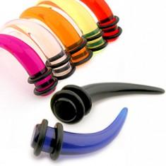 Akrylowy taper do ucha - pazur w różnych kolorach i rozmiarach, gumki