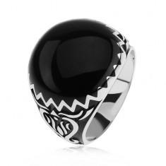 Pierścionek ze srebra 925, czarne zdobienie, zygzakowaty wzór i ornamenty