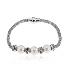 Bransoletka na rękę ze stali, perłowe koraliki, kółeczka, srebrny kolor