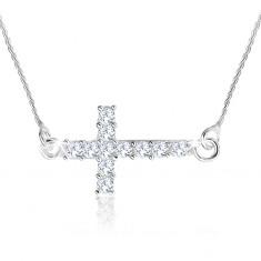 Naszyjnik ze srebra 925, spiralny łańcuszek, krzyż łaciński z cyrkonii