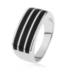 Lśniący srebrny pierścionek 925, trzy poziome pasy z czarną emalią