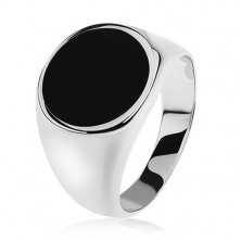 Pierścionek ze srebra 925, lustrzane lśniące ramiona, czarne emaliowane koło
